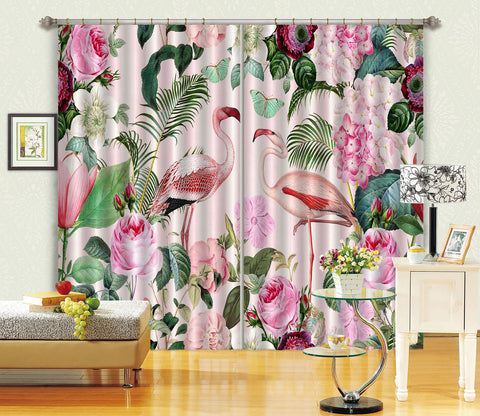 3D Flamingo Paradise 054 Andrea haase Curtain Curtains Drapes
