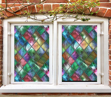 3D Colored Diamond 432 Window Film Print Sticker Cling Stained Glass UV Block