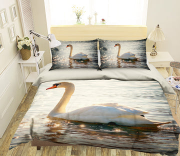 3D White Swan 1946 Bed Pillowcases Quilt