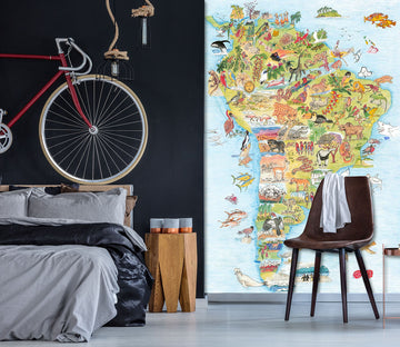 3D Animal Map 1418 Michael Sewell Wall Mural Wall Murals