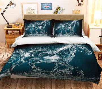 3D Abstract Horse 1930 Bed Pillowcases Quilt Quiet Covers AJ Creativity Home