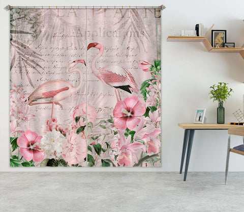 3D Flamingo Paradise 053 Andrea haase Curtain Curtains Drapes