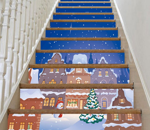3D Christmas Xmas Village 3 Stair Risers