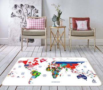 3D Vibrant Colors 290 World Map Non Slip Rug Mat