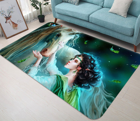 3D Woman Unicorn 24 Non Slip Rug Mat Mat AJ Creativity Home