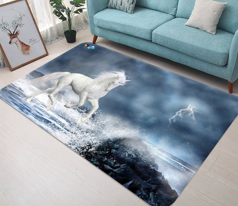 3D Wave Lightning Unicorn 04 Non Slip Rug Mat Mat AJ Creativity Home