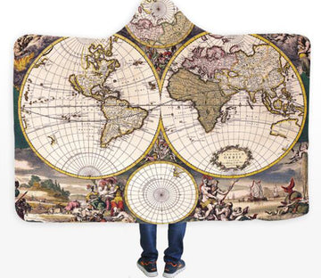 3D Noble World Map 569 Hooded Blanket