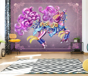 3D Purple Unicorn 102 Rose Catherine Khan Wall Mural Wall Murals