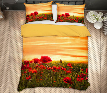3D Sunset Flower Field 133 Marco Carmassi Bedding Bed Pillowcases Quilt