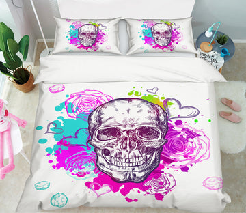 3D Colorful Watercolor Skull 63234 Bed Pillowcases Quilt
