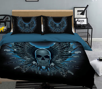 3D Skull Strings 081 Bed Pillowcases Quilt Exclusive Designer Vincent