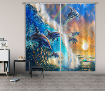 3D Dolphin Wave 056 Adrian Chesterman Curtain Curtains Drapes