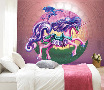3D Unicorn Princess 104 Rose Catherine Khan Wall Mural Wall Murals