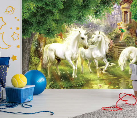 3D White Unicorn 011 Wall Murals