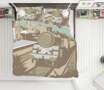 3D Swanage Railway 2071 Steve Read Bedding Bed Pillowcases Quilt