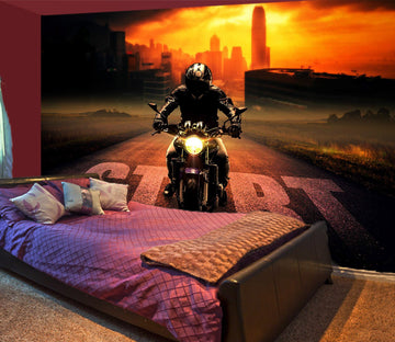 3D Sunshine Bike 925 Vehicle Wall Murals