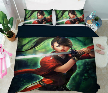 3D Swordsman Girl 433 CG Anime Bed Pillowcases Duvet Cover Quilt Cover