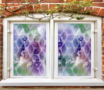 3D Purple Leaves 461 Window Film Print Sticker Cling Stained Glass UV Block