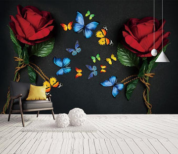 3D Butterfly Flower 814 Wall Murals
