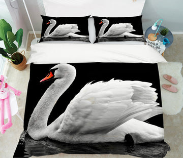 3D White Swan 1947 Bed Pillowcases Quilt