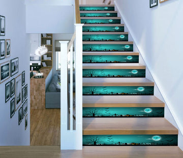 3D Green Moonlit Night 652 Stair Risers