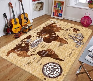 3D Towering Valley 320 World Map Non Slip Rug Mat