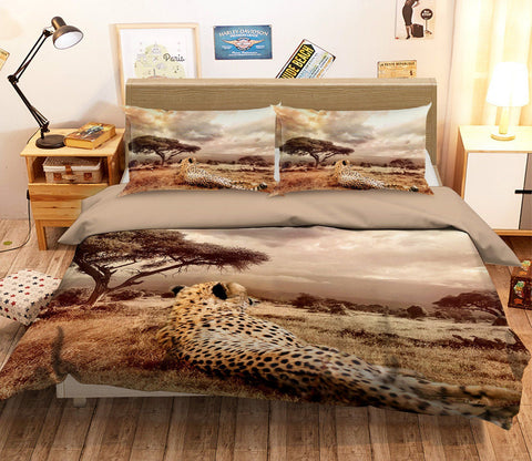 3D African Leopard 1925 Bed Pillowcases Quilt Quiet Covers AJ Creativity Home