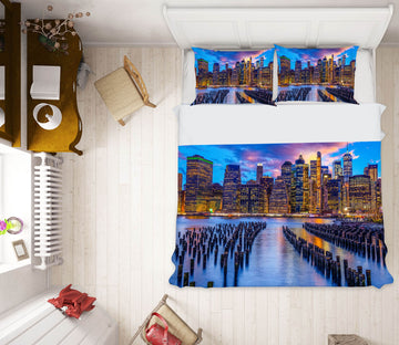 3D Night City River 127 Marco Carmassi Bedding Bed Pillowcases Quilt
