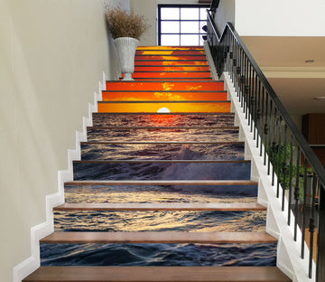 3D The Sunset Dyes The Sky Red 627 Stair Risers