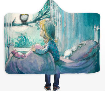3D Girl Window 446 Hooded Blanket