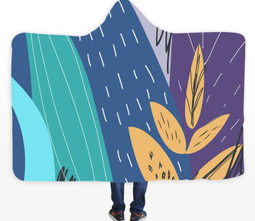 3D Graffiti Leaves 039 Hooded Blanket