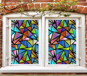 3D Color Triangle 457 Window Film Print Sticker Cling Stained Glass UV Block