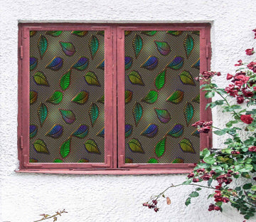 3D Green Leaves 443 Window Film Print Sticker Cling Stained Glass UV Block