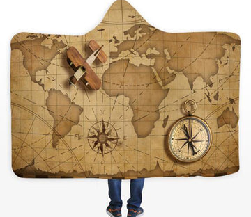 3D Compass World Map 339 Hooded Blanket