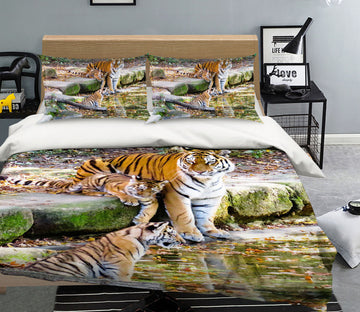 3D Tiger River 137 Bed Pillowcases Quilt