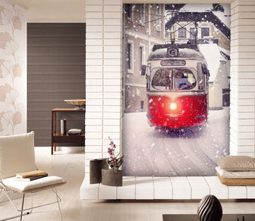 3D White Snow Bus 436 Vehicle Wall Murals