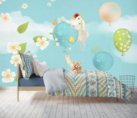 3D Unicorn Balloon WC89 Wall Murals