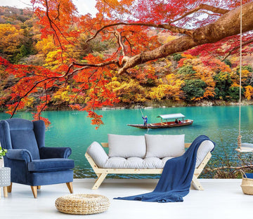 3D Autumn Leaves River 687 Wallpaper AJ Wallpaper 2