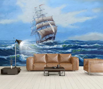 3D Wave Ship WC917 Wall Murals