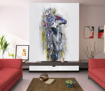 3D Dirt Bike Man 431 Vehicle Wall Murals