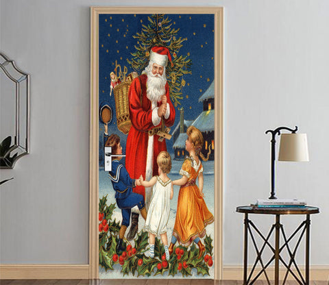 3D Christmas Xmas Lovely Santa Claus 1 Door Mural