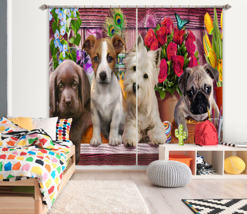 3D Cute Dog 047 Adrian Chesterman Curtain Curtains Drapes