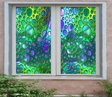 3D Colored Circle 430 Window Film Print Sticker Cling Stained Glass UV Block