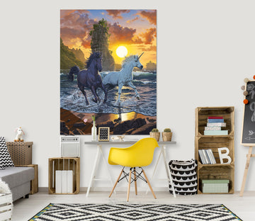 3D Unicorns In Sunset 088 Vincent Hie Wall Sticker