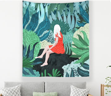 3D Forest Girl 2360 Tapestry Hanging Cloth Hang