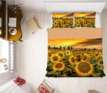 3D Tuscany Sunflowers Field 162 Marco Carmassi Bedding Bed Pillowcases Quilt