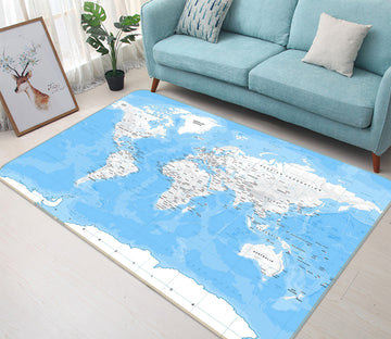 3D Blue Sky White Clouds 286 World Map Non Slip Rug Mat