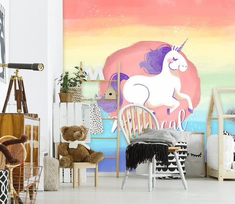 3D Cartoon Unicorn 004 Wall Murals