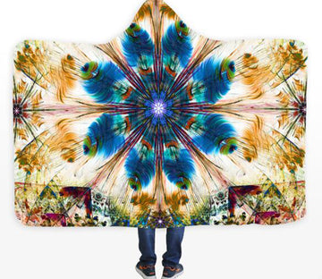 3D Blue Plumeria Flower 689 Hooded Blanket