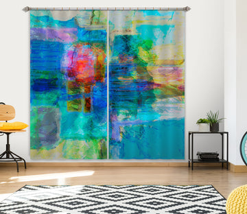 3D Blue Graffiti 210 Michael Tienhaara Curtain Curtains Drapes